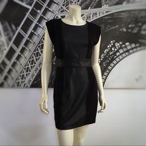 BCBGMAXAZRIA Black Dress with Faux Leather Trim